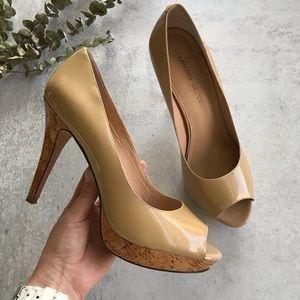 ANTONIO MELANI Leather Peep Toe Cork Heels 10